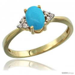 14k Yellow Gold Ladies Natural Turquoise Ring oval 7x5 Stone Diamond Accent