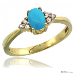 14k Yellow Gold Ladies Natural Turquoise Ring oval 6x4 Stone Diamond Accent