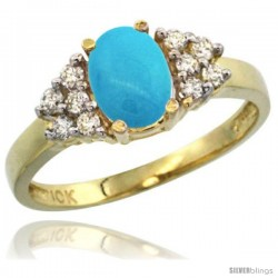 14k Yellow Gold Ladies Natural Turquoise Ring oval 8x6 Stone Diamond Accent