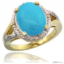 14k Yellow Gold Ladies Natural Turquoise Ring oval 12x10 Stone Diamond Accent