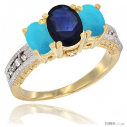 14k Yellow Gold Ladies Oval Natural Blue Sapphire 3-Stone Ring with Turquoise Sides Diamond Accent