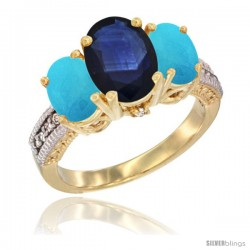 14K Yellow Gold Ladies 3-Stone Oval Natural Blue Sapphire Ring with Turquoise Sides Diamond Accent