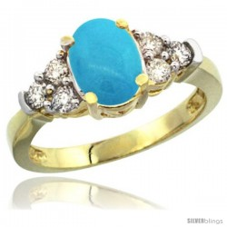 14k Yellow Gold Ladies Natural Turquoise Ring oval 9x7 Stone Diamond Accent