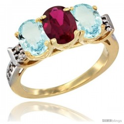 10K Yellow Gold Natural Ruby & Aquamarine Sides Ring 3-Stone Oval 7x5 mm Diamond Accent
