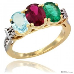 10K Yellow Gold Natural Aquamarine, Ruby & Emerald Ring 3-Stone Oval 7x5 mm Diamond Accent