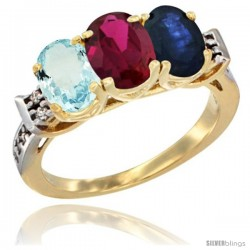 10K Yellow Gold Natural Aquamarine, Ruby & Blue Sapphire Ring 3-Stone Oval 7x5 mm Diamond Accent