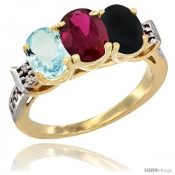 10K Yellow Gold Natural Aquamarine, Ruby & Black Onyx Ring 3-Stone Oval 7x5 mm Diamond Accent