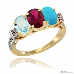 10K Yellow Gold Natural Aquamarine, Ruby & Turquoise Ring 3-Stone Oval 7x5 mm Diamond Accent
