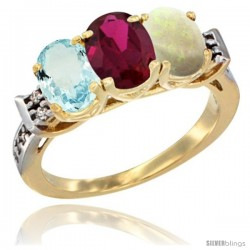 10K Yellow Gold Natural Aquamarine, Ruby & Opal Ring 3-Stone Oval 7x5 mm Diamond Accent