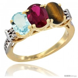 10K Yellow Gold Natural Aquamarine, Ruby & Tiger Eye Ring 3-Stone Oval 7x5 mm Diamond Accent