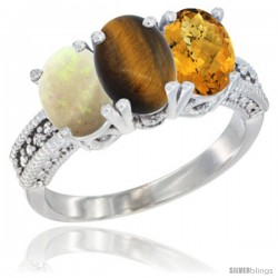 14K White Gold Natural Opal, Tiger Eye & Whisky Quartz Ring 3-Stone 7x5 mm Oval Diamond Accent