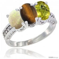 14K White Gold Natural Opal, Tiger Eye & Lemon Quartz Ring 3-Stone 7x5 mm Oval Diamond Accent