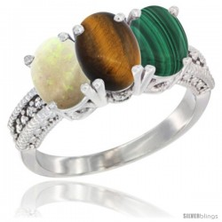 14K White Gold Natural Opal, Tiger Eye & Malachite Ring 3-Stone 7x5 mm Oval Diamond Accent