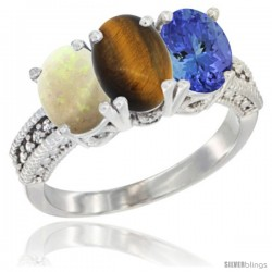 14K White Gold Natural Opal, Tiger Eye & Tanzanite Ring 3-Stone 7x5 mm Oval Diamond Accent