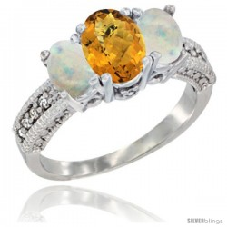 14k White Gold Ladies Oval Natural Whisky Quartz 3-Stone Ring with Opal Sides Diamond Accent