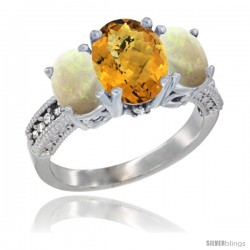 14K White Gold Ladies 3-Stone Oval Natural Whisky Quartz Ring with Opal Sides Diamond Accent