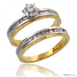 14k Gold 2-Piece Diamond Engagement Ring Set w/ Rhodium Accent, w/ 0.21 Carat Brilliant Cut Diamonds, 1/8 in. (3.5mm) wide