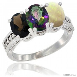 14K White Gold Natural Smoky Topaz, Mystic Topaz & Opal Ring 3-Stone 7x5 mm Oval Diamond Accent
