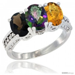 14K White Gold Natural Smoky Topaz, Mystic Topaz & Whisky Quartz Ring 3-Stone 7x5 mm Oval Diamond Accent