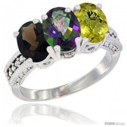 14K White Gold Natural Smoky Topaz, Mystic Topaz & Lemon Quartz Ring 3-Stone 7x5 mm Oval Diamond Accent