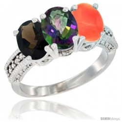 14K White Gold Natural Smoky Topaz, Mystic Topaz & Coral Ring 3-Stone 7x5 mm Oval Diamond Accent