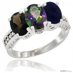 14K White Gold Natural Smoky Topaz, Mystic Topaz & Lapis Ring 3-Stone 7x5 mm Oval Diamond Accent