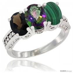14K White Gold Natural Smoky Topaz, Mystic Topaz & Malachite Ring 3-Stone 7x5 mm Oval Diamond Accent