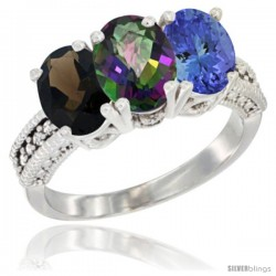 14K White Gold Natural Smoky Topaz, Mystic Topaz & Tanzanite Ring 3-Stone 7x5 mm Oval Diamond Accent