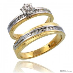 14k Gold 2-Piece Diamond Ring Set w/ Rhodium Accent ( Engagement Ring & Man's Wedding Band ), w/ 0.21 Carat Brilliant Cut