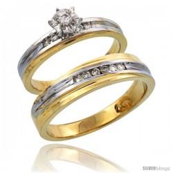 14k Gold 2-Piece Diamond Ring Set w/ Rhodium Accent ( Engagement Ring & Man's Wedding Band ), w/ 0.21 Carat Brilliant Cut