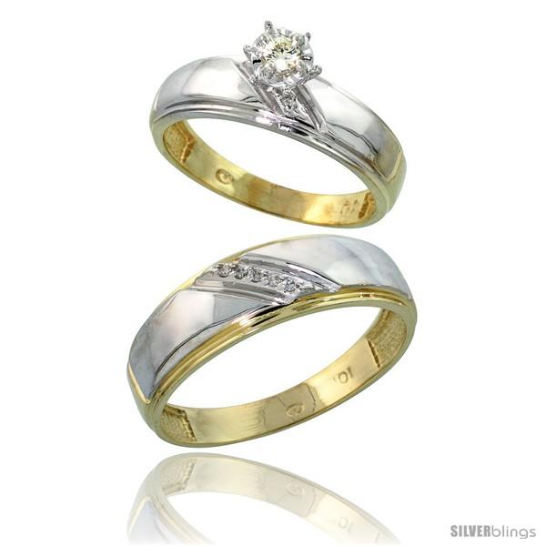 10k yellow gold 2 wedding engagement ring