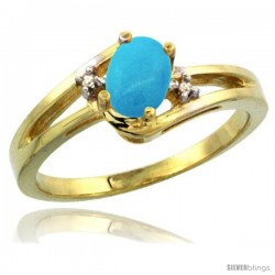 14k Yellow Gold Ladies Natural Turquoise Ring oval 6x4 Stone Diamond Accent -Style Cy418165