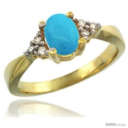 14k Yellow Gold Ladies Natural Turquoise Ring oval 7x5 Stone Diamond Accent -Style Cy418168