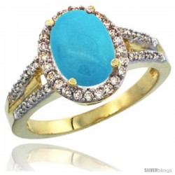 14k Yellow Gold Ladies Natural Turquoise Ring oval 10x8 Stone Diamond Accent