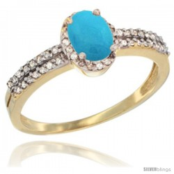 14k Yellow Gold Ladies Natural Turquoise Ring oval 6x4 Stone Diamond Accent -Style Cy418178