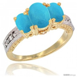 14k Yellow Gold Ladies Oval Natural Turquoise 3-Stone Ring Diamond Accent