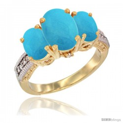 14K Yellow Gold Ladies 3-Stone Oval Natural Turquoise Ring Diamond Accent