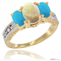 14k Yellow Gold Ladies Oval Natural Opal 3-Stone Ring with Turquoise Sides Diamond Accent