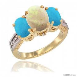 14K Yellow Gold Ladies 3-Stone Oval Natural Opal Ring with Turquoise Sides Diamond Accent