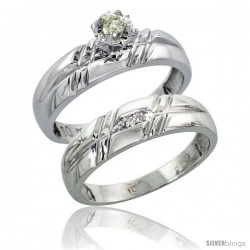 Sterling Silver 2-Piece Diamond Engagement Ring Set, w/ 0.08 Carat Brilliant Cut Diamonds, 7/32 in. (5.5mm) wide