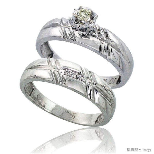 Sterling Silver 2 Piece Diamond Engagement Ring Set w 0 08 Carat Brilliant
