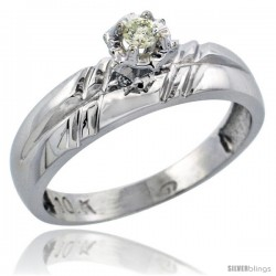 Sterling Silver Diamond Engagement Ring, w/ 0.06 Carat Brilliant Cut Diamonds, 7/32 in. (5.5mm) wide