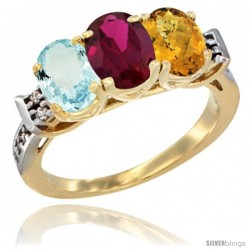 10K Yellow Gold Natural Aquamarine, Ruby & Whisky Quartz Ring 3-Stone Oval 7x5 mm Diamond Accent