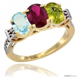 10K Yellow Gold Natural Aquamarine, Ruby & Lemon Quartz Ring 3-Stone Oval 7x5 mm Diamond Accent