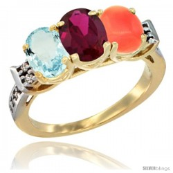 10K Yellow Gold Natural Aquamarine, Ruby & Coral Ring 3-Stone Oval 7x5 mm Diamond Accent