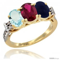10K Yellow Gold Natural Aquamarine, Ruby & Lapis Ring 3-Stone Oval 7x5 mm Diamond Accent