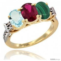 10K Yellow Gold Natural Aquamarine, Ruby & Malachite Ring 3-Stone Oval 7x5 mm Diamond Accent