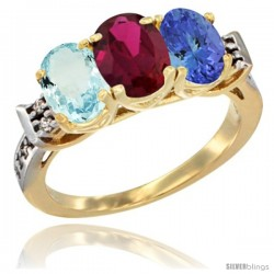 10K Yellow Gold Natural Aquamarine, Ruby & Tanzanite Ring 3-Stone Oval 7x5 mm Diamond Accent
