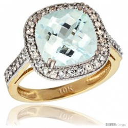 10k Yellow Gold Diamond Halo Aquamarine Ring Checkerboard Cushion 9 mm 2.4 ct 1/2 in wide
