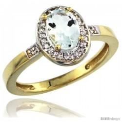 10k Yellow Gold Diamond Aquamarine Ring 1 ct 7x5 Stone 1/2 in wide